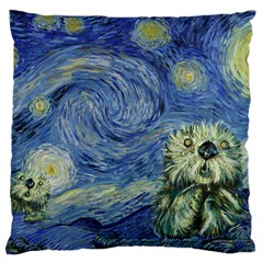 Starry Monterey Night - Sea Otters Standard Flano Cushion Case (one Side)