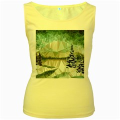 Winter Landscape Low Poly Polygons Women s Yellow Tank Top