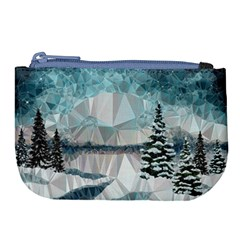 Winter Landscape Low Poly Polygons Large Coin Purse