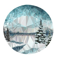 Winter Landscape Low Poly Polygons Pop Socket (white)