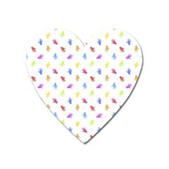 Multicolored Hands Silhouette Motif Design Heart Magnet by dflcprintsclothing