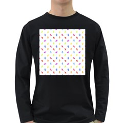 Multicolored Hands Silhouette Motif Design Long Sleeve Dark T-shirt by dflcprintsclothing