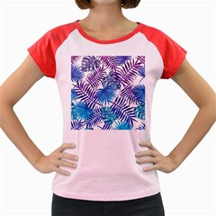 Blue Tropical Leaves Women s Cap Sleeve T-shirt by goljakoff