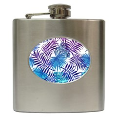 Blue Tropical Leaves Hip Flask (6 Oz) by goljakoff