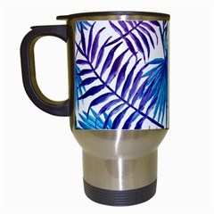 Blue Tropical Leaves Travel Mugs (white) by goljakoff