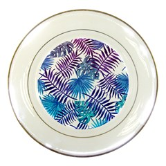 Blue Tropical Leaves Porcelain Plates by goljakoff