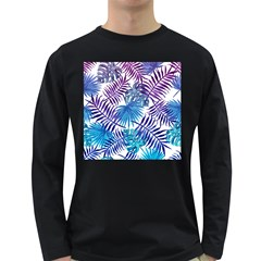 Blue Tropical Leaves Long Sleeve Dark T-shirt by goljakoff