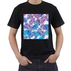 Blue Tropical Leaves Men s T-shirt (black) by goljakoff