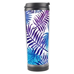 Blue Tropical Leaves Travel Tumbler by goljakoff