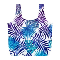 Blue Tropical Leaves Full Print Recycle Bag (l) by goljakoff