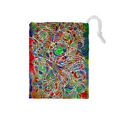 Pop Art - Spirals World 1 Drawstring Pouch (medium) by EDDArt