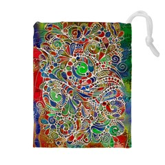 Pop Art - Spirals World 1 Drawstring Pouch (xl) by EDDArt