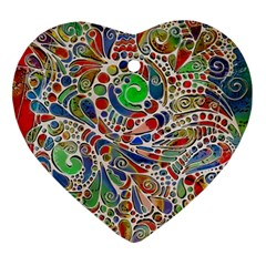 Pop Art - Spirals World 1 Heart Ornament (two Sides)