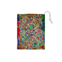 Pop Art - Spirals World 1 Drawstring Pouch (small) by EDDArt