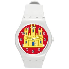 Royal Arms Of Castile  Round Plastic Sport Watch (m) by abbeyz71