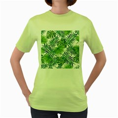 Green Tropical Leaves Women s Green T-shirt by goljakoff