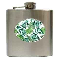 Green Tropical Leaves Hip Flask (6 Oz) by goljakoff