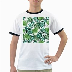 Green Tropical Leaves Ringer T by goljakoff