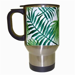 Green Tropical Leaves Travel Mugs (white) by goljakoff