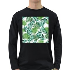 Green Tropical Leaves Long Sleeve Dark T-shirt by goljakoff