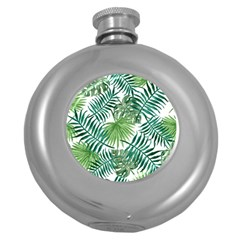 Green Tropical Leaves Round Hip Flask (5 Oz) by goljakoff