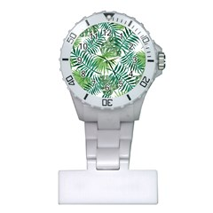 Green Tropical Leaves Plastic Nurses Watch by goljakoff