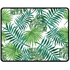 Green Tropical Leaves Double Sided Fleece Blanket (medium)  by goljakoff