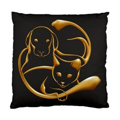 Gold Dog Cat Animal Jewel Standard Cushion Case (two Sides)