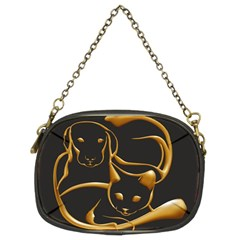 Gold Dog Cat Animal Jewel Chain Purse (two Sides)