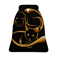 Gold Dog Cat Animal Jewel Bell Ornament (two Sides)