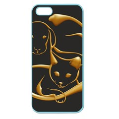 Gold Dog Cat Animal Jewel Apple Seamless Iphone 5 Case (color)