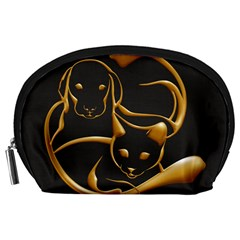 Gold Dog Cat Animal Jewel Accessory Pouch (large)