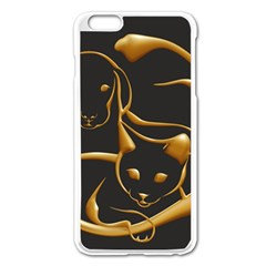 Gold Dog Cat Animal Jewel Iphone 6 Plus/6s Plus Enamel White Case
