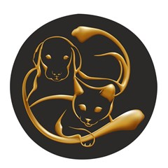 Gold Dog Cat Animal Jewel Pop Socket (black)