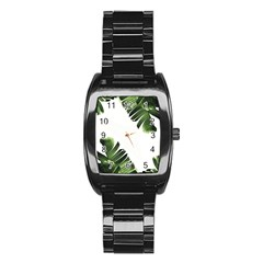 Banana Leaves Stainless Steel Barrel Watch by goljakoff
