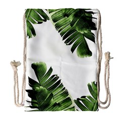 Banana Leaves Drawstring Bag (large) by goljakoff