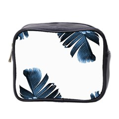 Blue Banana Leaves Mini Toiletries Bag (two Sides) by goljakoff