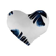 Blue Banana Leaves Standard 16  Premium Heart Shape Cushions by goljakoff