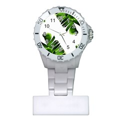 Green Banana Leaves Plastic Nurses Watch by goljakoff