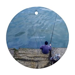 Senior Man Fishing At River, Montevideo, Uruguay001 Ornament (round) by dflcprintsclothing