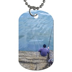 Senior Man Fishing At River, Montevideo, Uruguay001 Dog Tag (one Side) by dflcprintsclothing