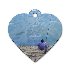 Senior Man Fishing At River, Montevideo, Uruguay001 Dog Tag Heart (one Side) by dflcprintsclothing