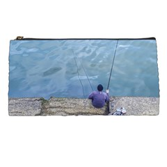 Senior Man Fishing At River, Montevideo, Uruguay001 Pencil Case by dflcprintsclothing