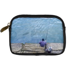 Senior Man Fishing At River, Montevideo, Uruguay001 Digital Camera Leather Case by dflcprintsclothing