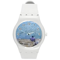 Senior Man Fishing At River, Montevideo, Uruguay001 Round Plastic Sport Watch (m) by dflcprintsclothing