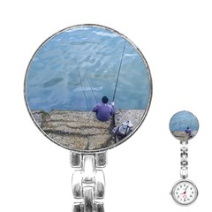 Senior Man Fishing At River, Montevideo, Uruguay001 Stainless Steel Nurses Watch by dflcprintsclothing