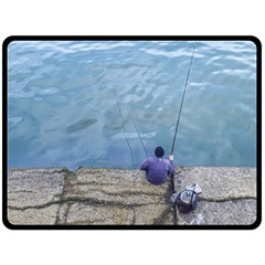 Senior Man Fishing At River, Montevideo, Uruguay001 Double Sided Fleece Blanket (large)  by dflcprintsclothing
