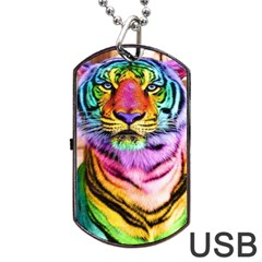 Rainbowtiger Dog Tag Usb Flash (one Side) by Sparkle