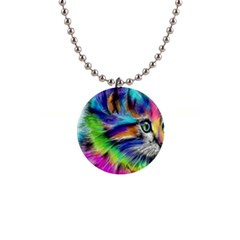 Rainbowcat 1  Button Necklace