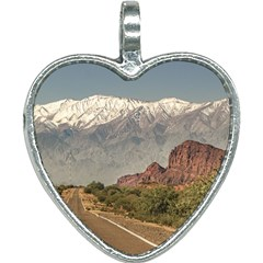 Empty Highway Landscape, La Rioja, Argentina Heart Necklace by dflcprintsclothing